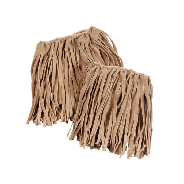 Wholesale khaki faux suede fringe boot cuffs