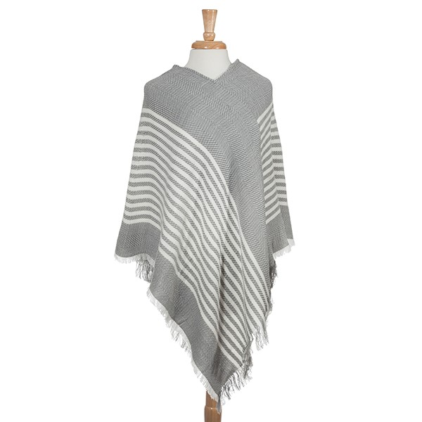 Wholesale gray frayed edge stripe pattern poncho Acrylic One fits most