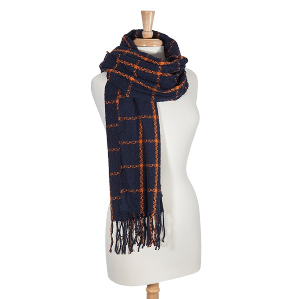 Wholesale navy orange check pattern oblong scarf Can be worn shawl Acrylic