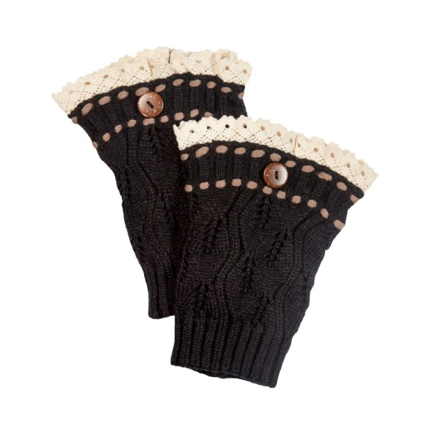 Wholesale black knit boot cuffs threaded brown knit string ivory lace rimmed to