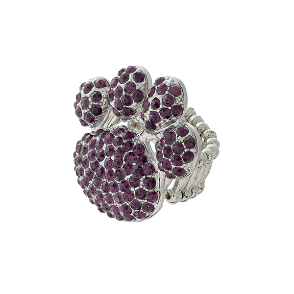 Wholesale silver stretch band ring paw print covered purple rhinestones