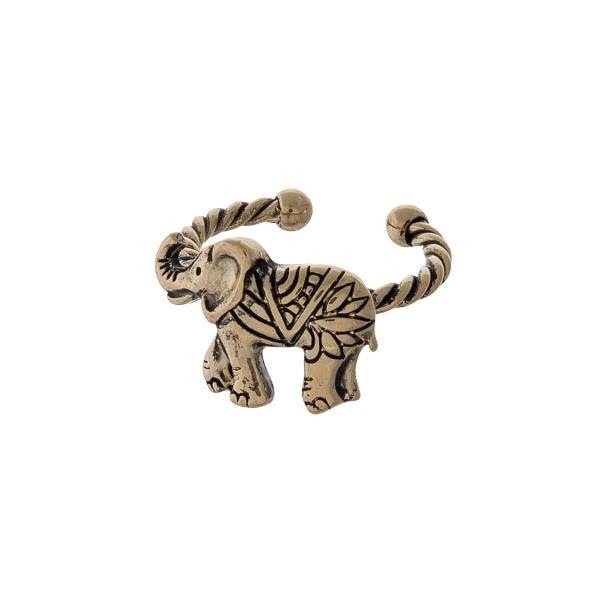 Wholesale gold twisted metal adjustable ring displaying elephant