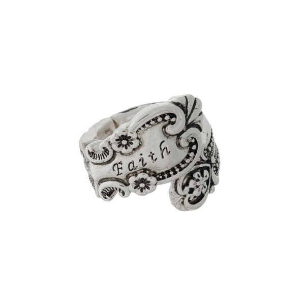 Wholesale silver spoon stretch ring stamped Faith