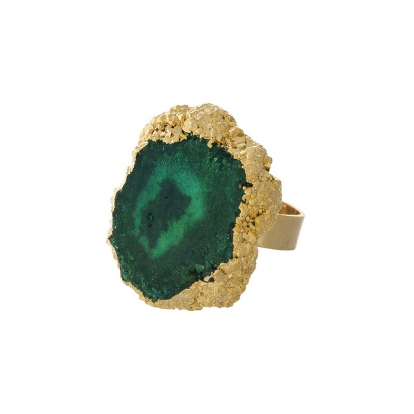Wholesale gold adjustable ring green druzy stone