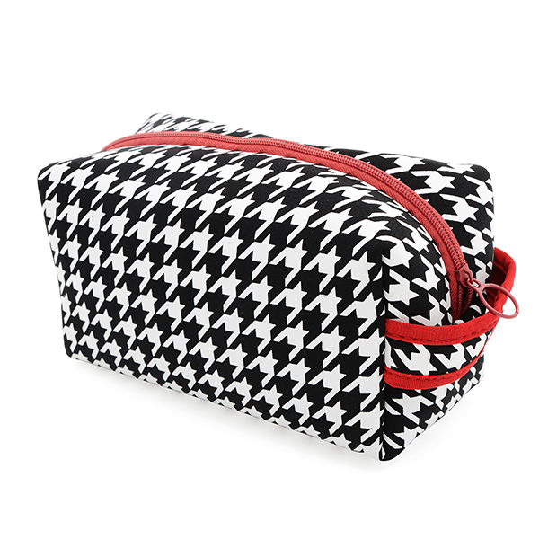 Wholesale neoprene houndstooth toiletry zipper bag L H W