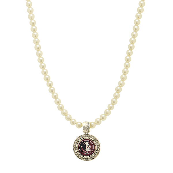 Wholesale officially licensed Ivory pearl beaded necklace round silver Florida S