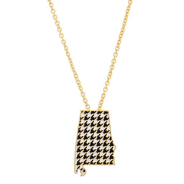 Wholesale gold chain necklace state Alabama pendant houndstooth print has exten