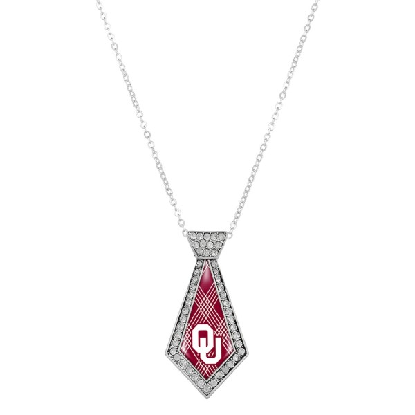 Wholesale officially licensed silver necklace tie Oklahoma University logo clear