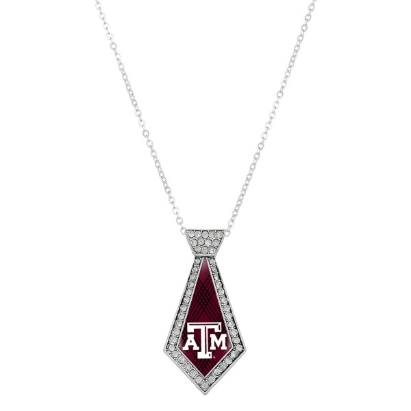 Wholesale officially licensed silver necklace tie Texas M logo clear crystal rhi