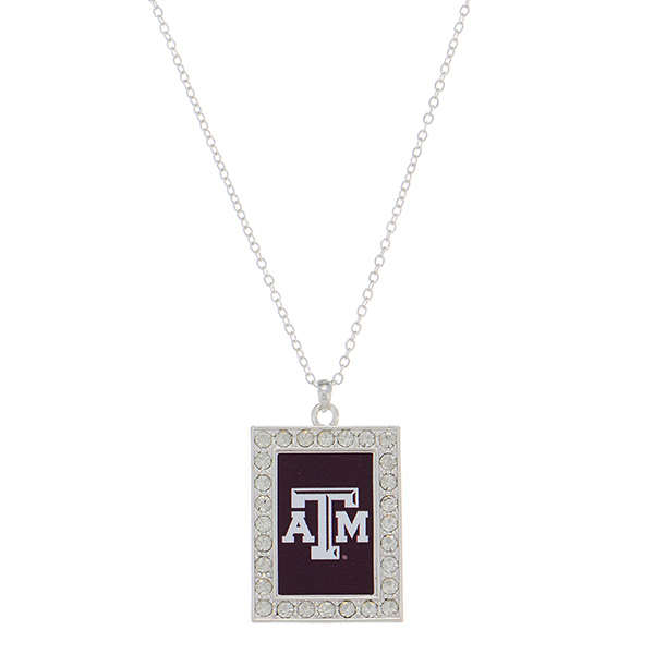Wholesale officially licensed silver necklace rectangular Texas M logo clear cry
