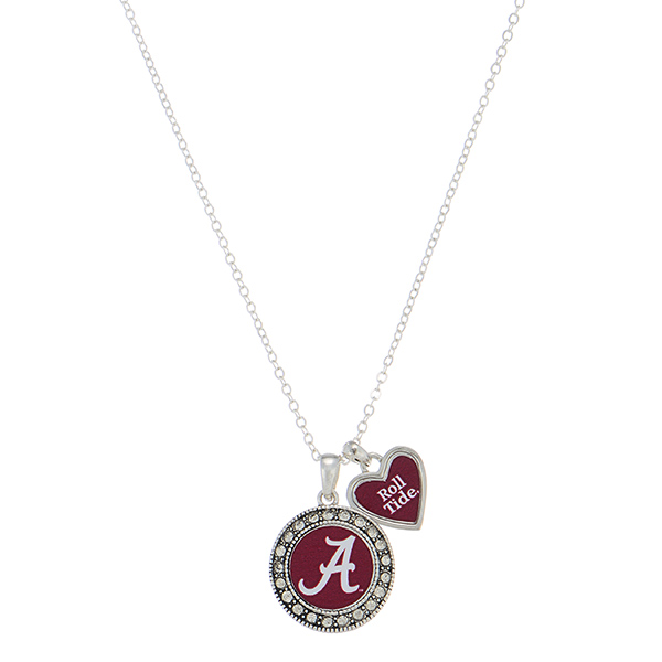 Wholesale officially licensed silver necklace Alabama logo heart charm inscribed