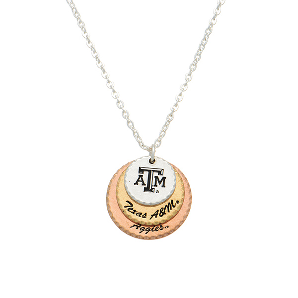 Wholesale silver officially licensed collegiate necklace three mixed metal disk