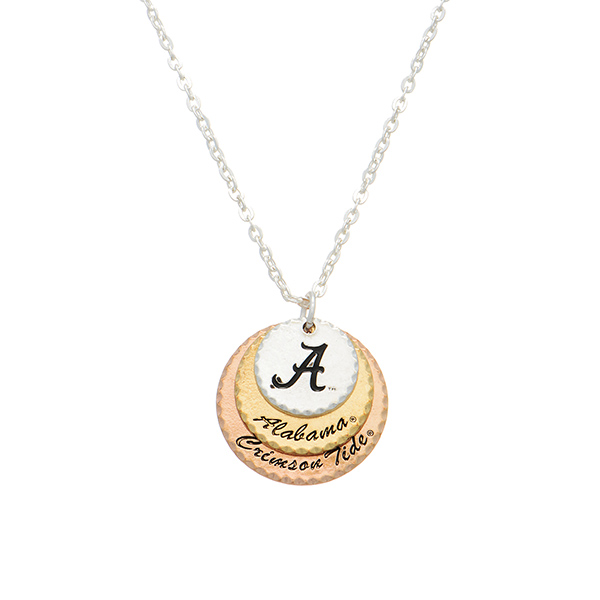Wholesale silver collegiate necklace three mixed metal disk stamped Alabama Crim