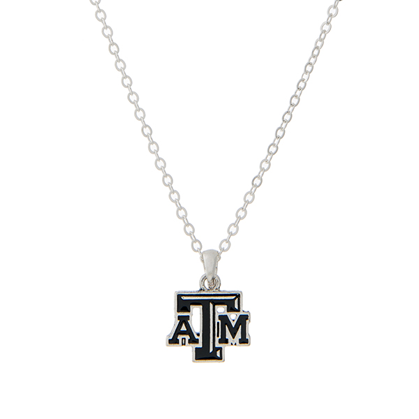 Wholesale silver necklace officially licensed Texas M University pendant