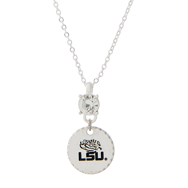 Wholesale silver necklace officially licensed rhinestone Louisiana State Univers