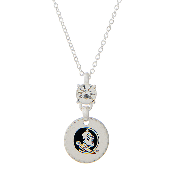 Wholesale silver necklace rhinestone officially licensed Florida State Seminoles