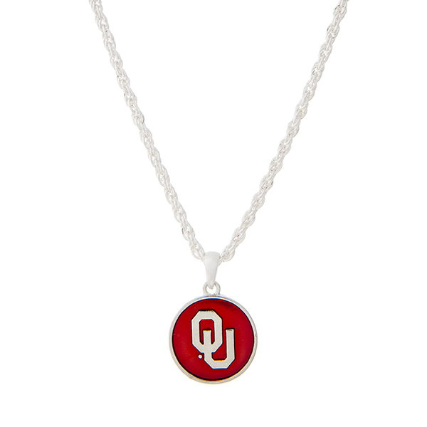 Wholesale silver necklace red officially licensed University Oklahoma pendant