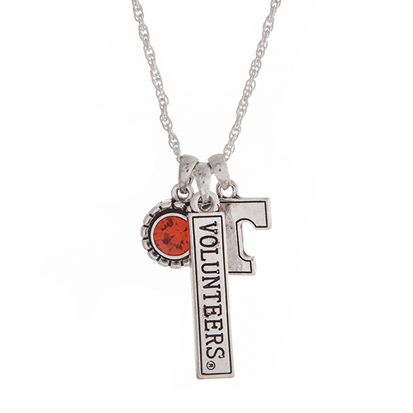 Wholesale officially licensed University Tennessee silver necklace orange rhines