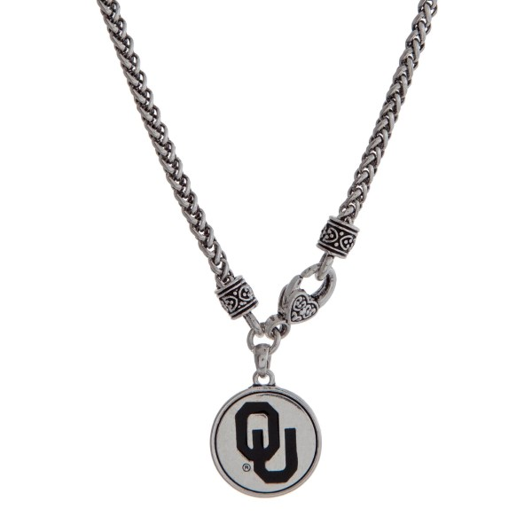 Wholesale officially licensed University Oklahoma silver necklace front lobster