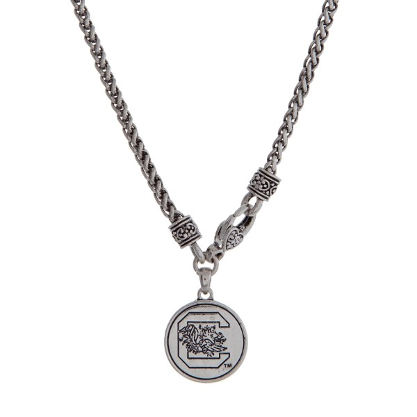Wholesale officially licensed University South Carolina silver necklace front lo