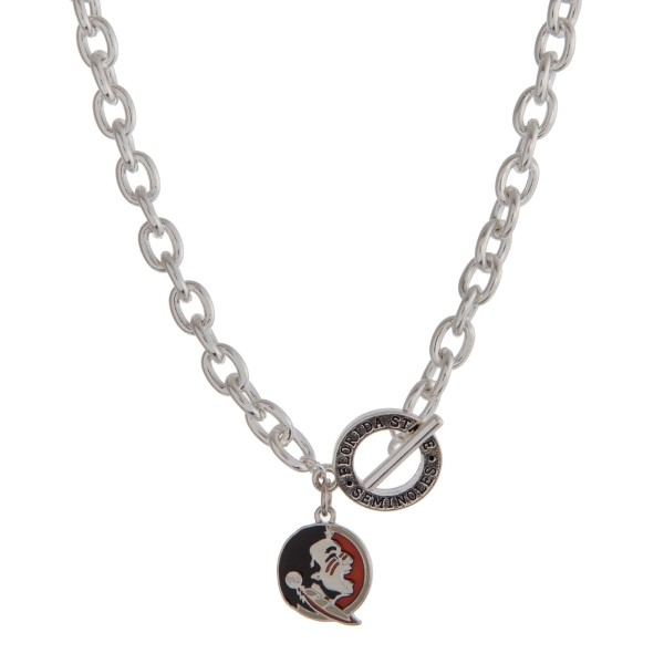 Wholesale silver officially licensed Florida State University toggle necklace lo