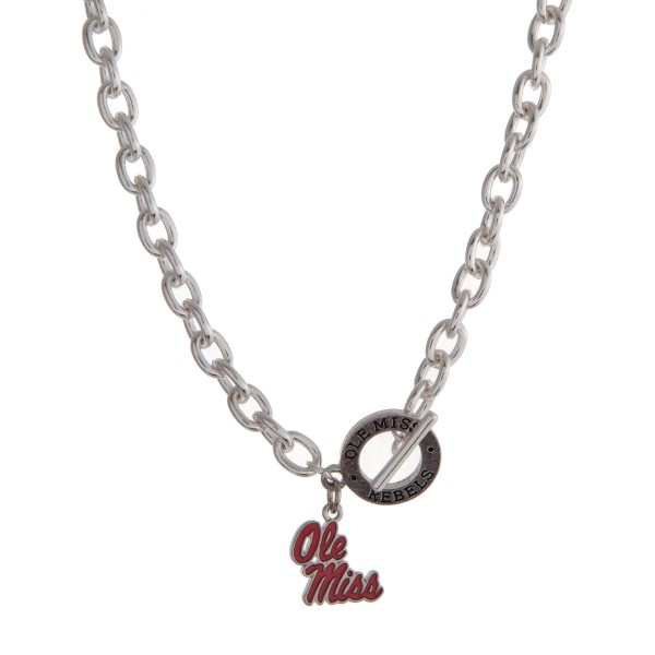 Wholesale silver officially licensed Ole Miss toggle necklace logo charm