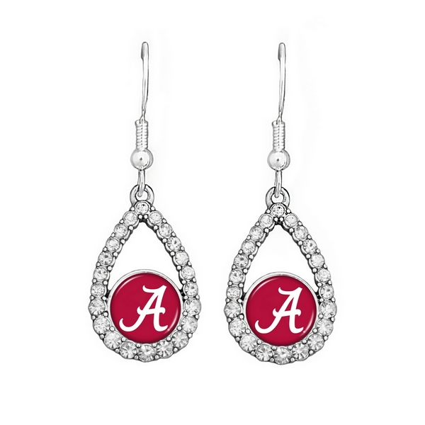 Wholesale officially licensed silver earrings oval Alabama logo clear crystal rh