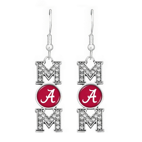 Wholesale officially licensed Silver fish hook earrings MOM written Alabama logo