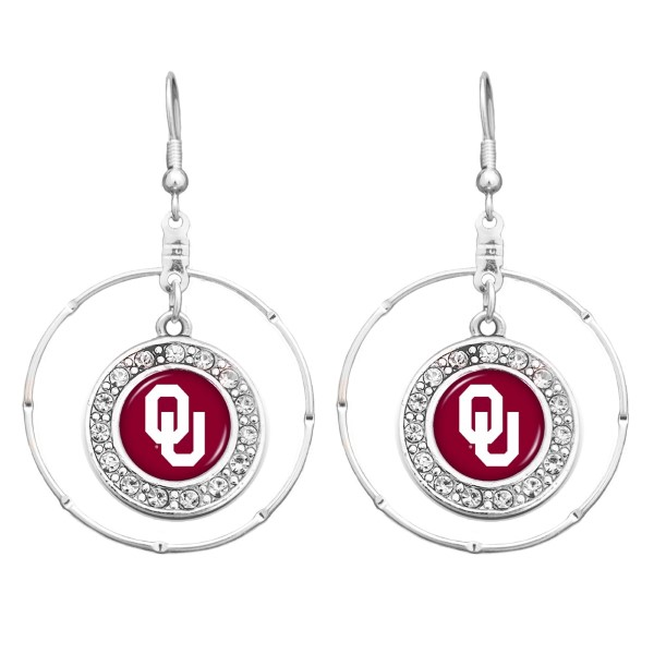 Wholesale officially licensed silver Oklahoma hoop earrings clear crystal rhines