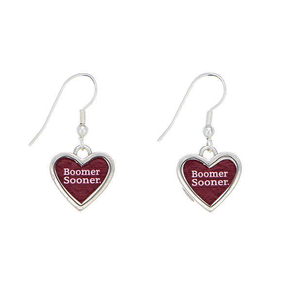 Wholesale officially licensed silver Oklahoma University earrings heart inscribe