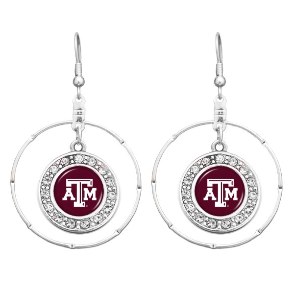 Wholesale officially licensed silver hoop earrings Texas M logo clear crystal rh