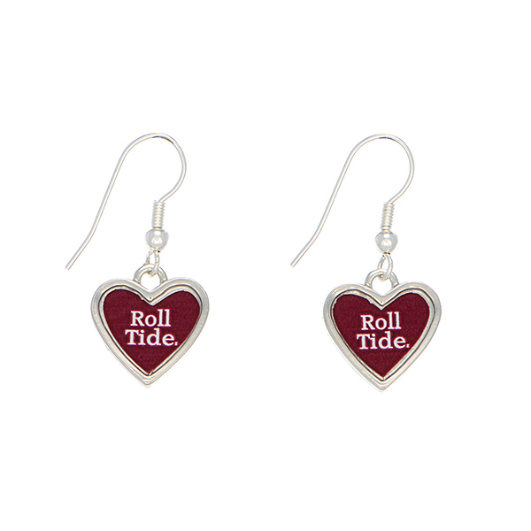 Wholesale officially licensed silver Alabama earrings heart inscribed Roll Tide
