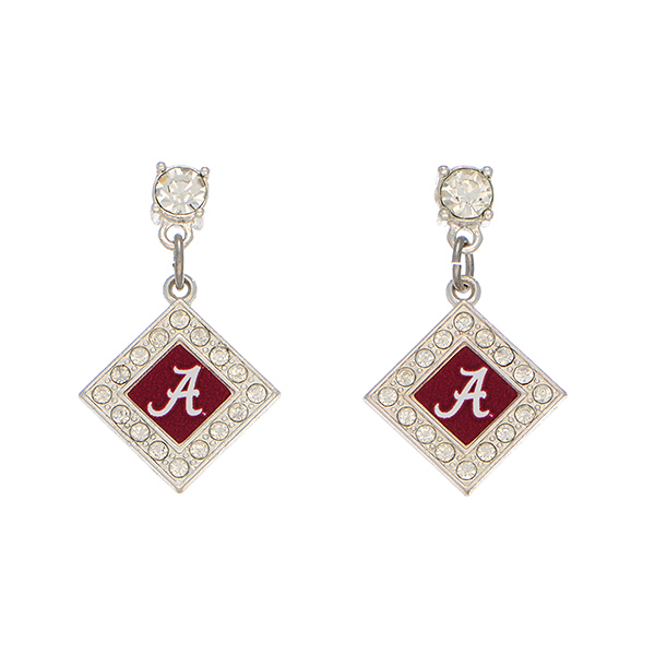 Wholesale officially licensed silver earrings diamond Alabama logo clear crystal