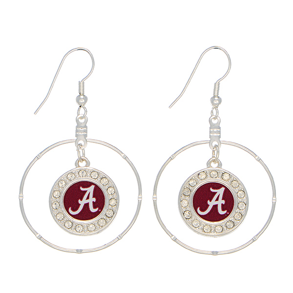 Wholesale officially licensed silver hoop earrings Alabama logo clear crystal rh
