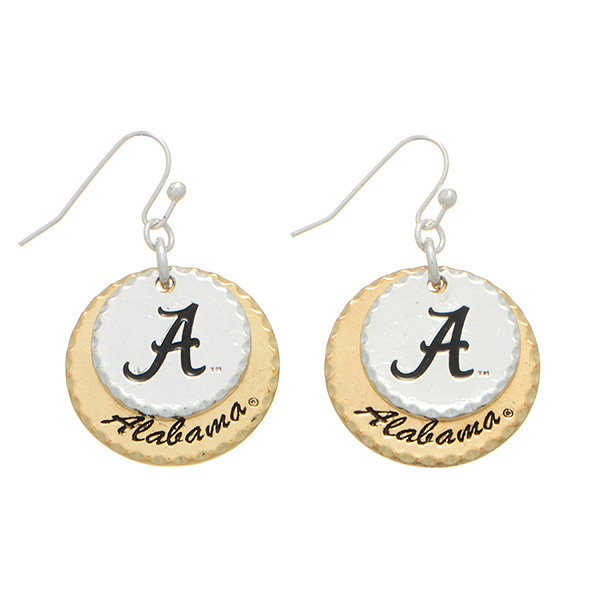 Wholesale mixed metal officially licensed collegiate earrings two disk stamped A