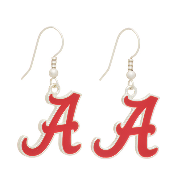 Wholesale silver officially licensed fishhook earrings University Alabama logo
