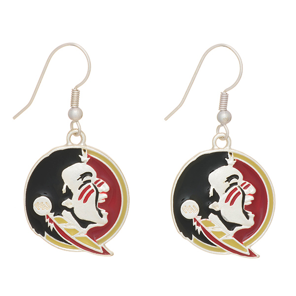 Wholesale silver officially licensed fishhook earrings Florida State Seminoles