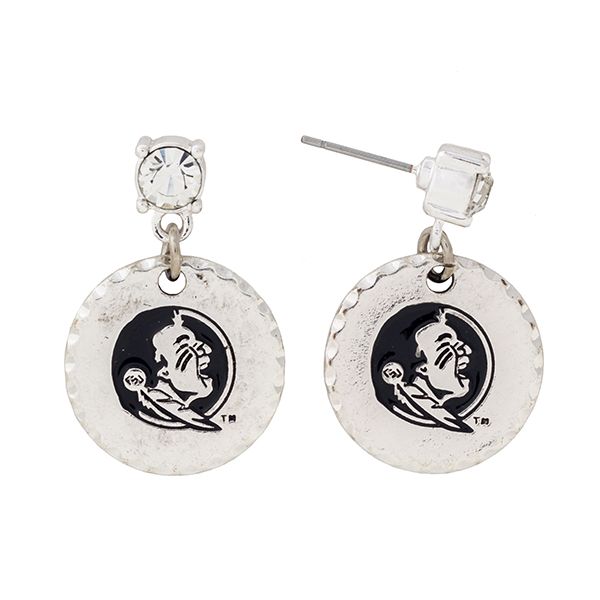 Wholesale silver post earrings rhinestone dangling officially licensed Florida S