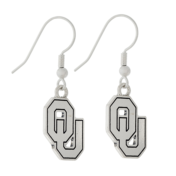 Wholesale silver official licensed University Oklahoma earrings