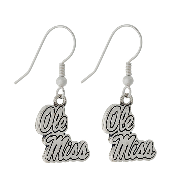 Wholesale silver official licensed Ole Miss earrings