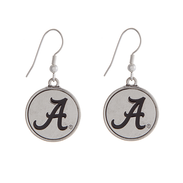 Wholesale officially licensed University Alabama silver fishhook earrings circle