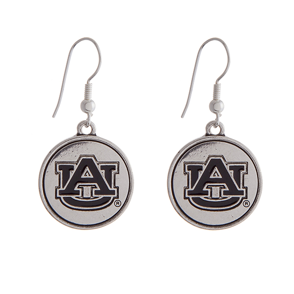 Wholesale officially licensed Auburn University silver fishhook earrings circle