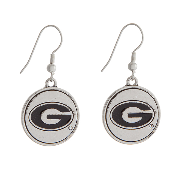 Wholesale officially licensed University Georgia silver fishhook earrings circle