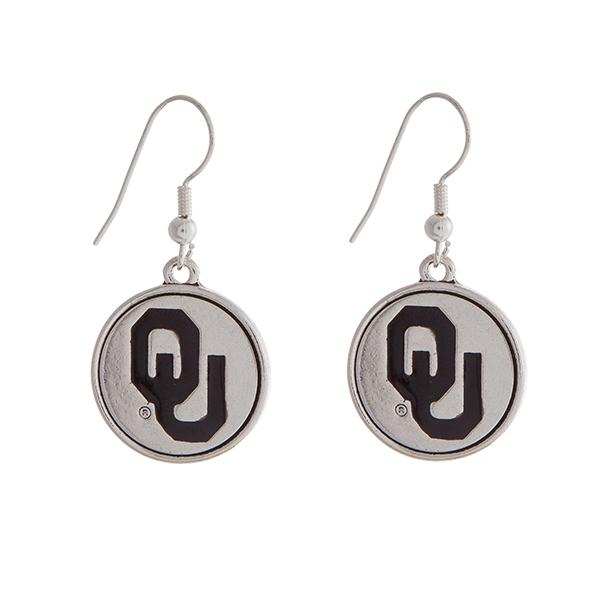 Wholesale officially licensed University Oklahoma silver fishhook earrings circl