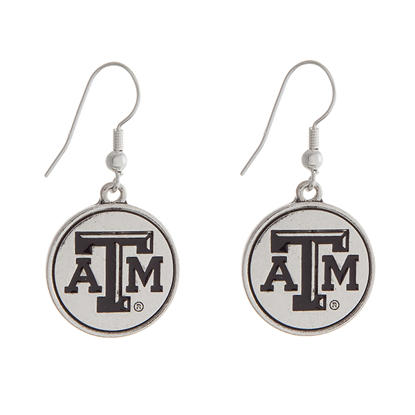 Wholesale officially licensed Texas M University silver fishhook earrings circle