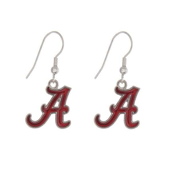 Wholesale silver officially licensed University Alabama earrings displaying logo