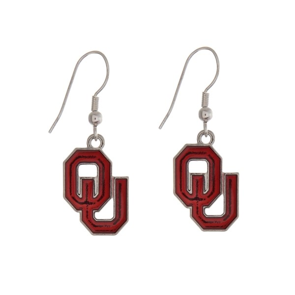 Wholesale silver officially licensed University Oklahoma earrings displaying log
