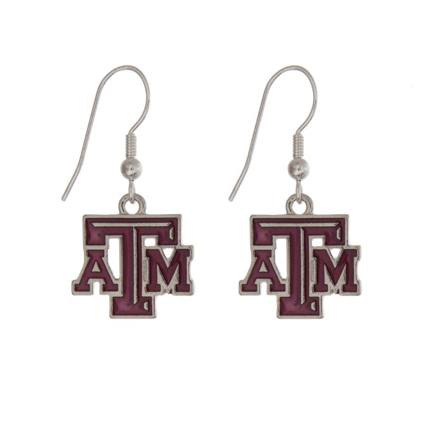 Wholesale silver officially licensed Texas M University earrings displaying logo