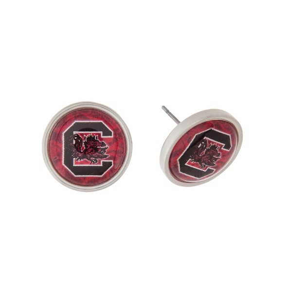 Wholesale silver officially licensed University South Carolina stud earrings exc