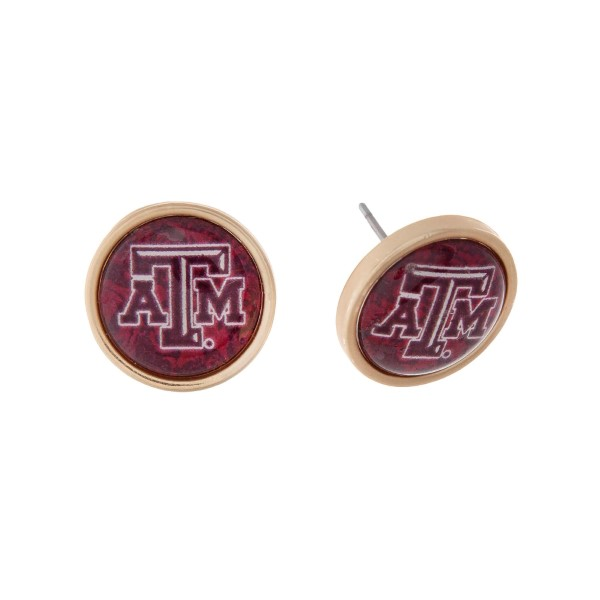 Wholesale gold officially licensed Texas M University stud earrings exclusive